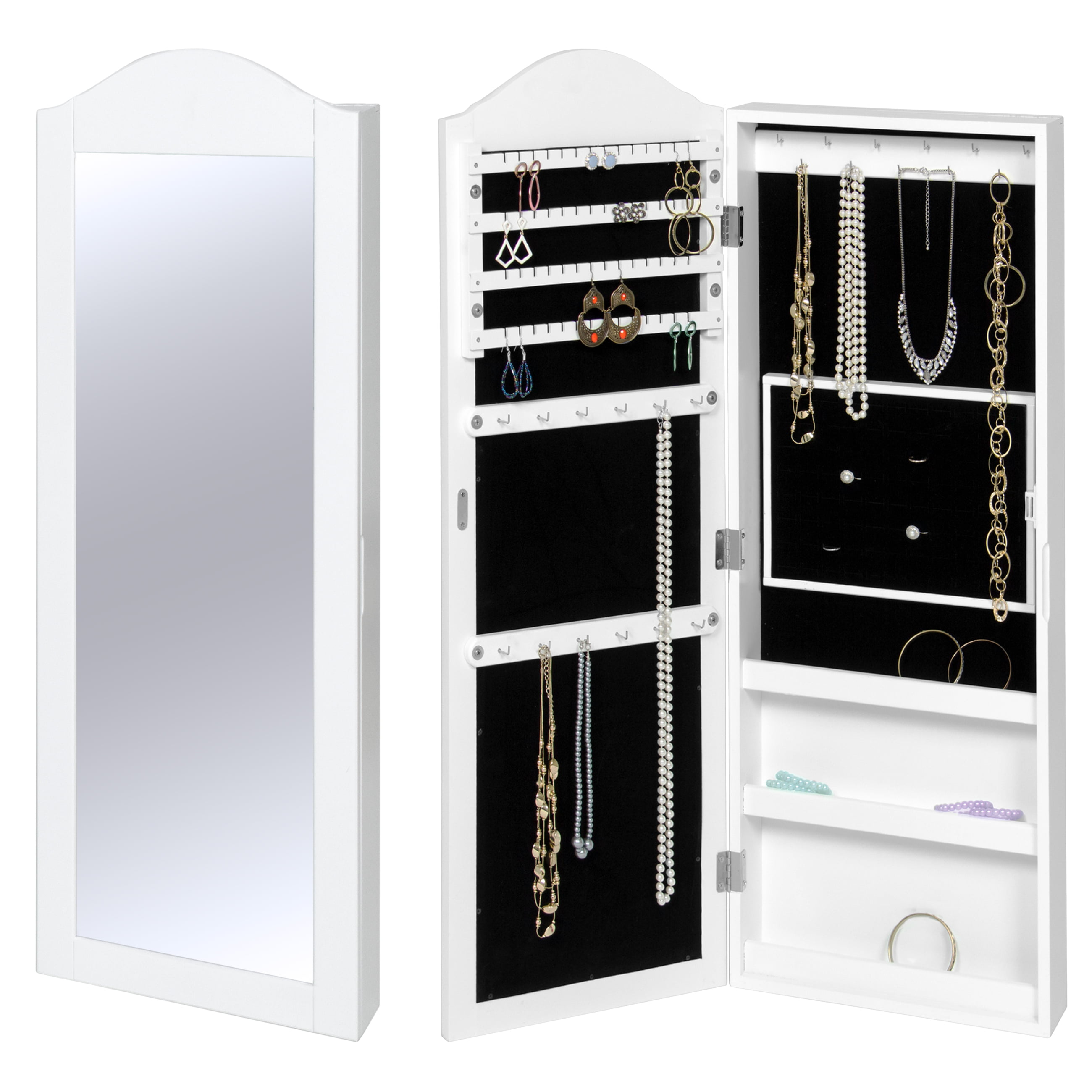 Best Choice Products Wall Mounted Mirror Jewelry Cabinet Armoire White by Best Choice Products