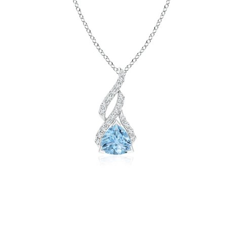 Mother's Day Jewelry - Trillion Aquamarine Solitaire Pendant with Diamond Swirl in 14K White Gold (5mm Aquamarine) - (White Topaz Trillion Pendant)