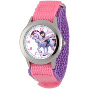 Sofia Girls' Stainless Steel Plain Case Watch, Pink Nylon Strap