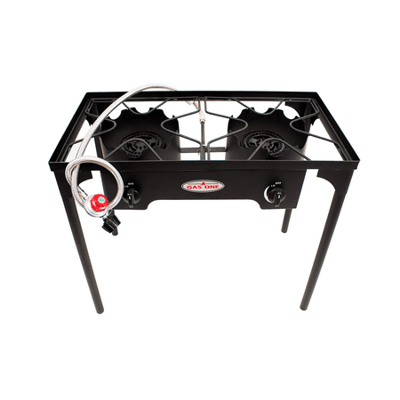 Gas One High Pressure 2 Burner Gas Propane Cooker Outdoor Camping Picnic Stove Stand Bbq Grill With Regulator