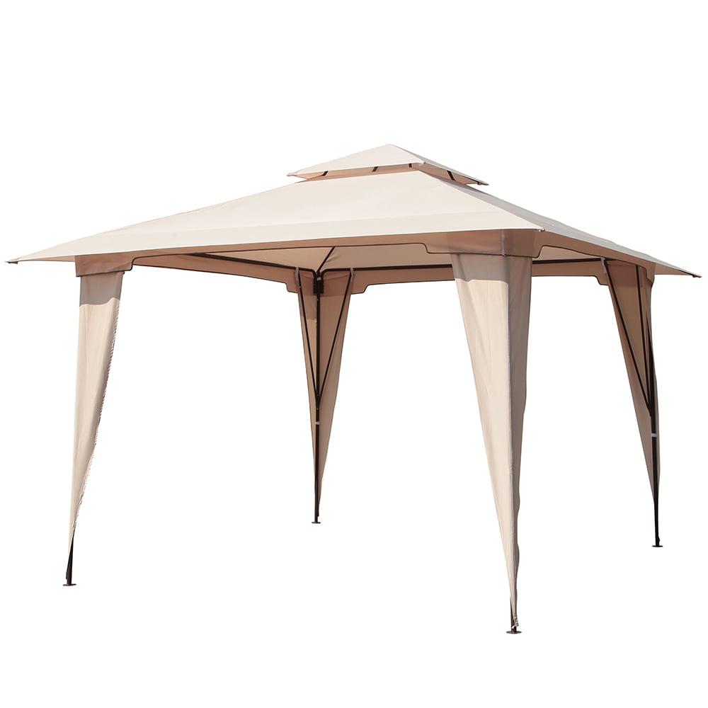 PATIOROMA 11.5 by 11.5 Feet Outdoor Backyard 2-Tier Steel Soft Top Patio Gazebo, Beige by