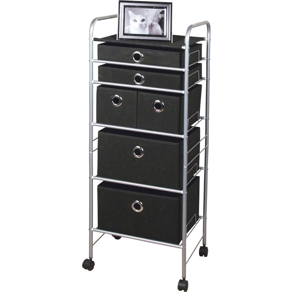 "6 Drawer storage Cart (Black) (16.3""W x 13.6""D x 42.75""H)"