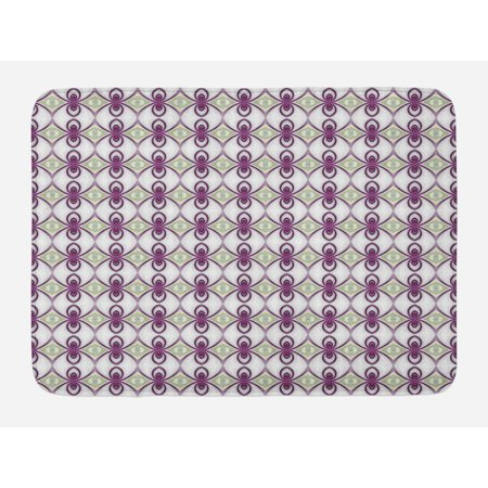- Mauve Bath Mat, Vintage Arabesque Eastern Mosaic from Medieval Times Art Kaleidoscopic Quirky Axis, Non-Slip Plush Mat Bathroom Kitchen Laundry Room Decor, 29.5 X 17.5 Inches, Mauve Grey, Ambesonne