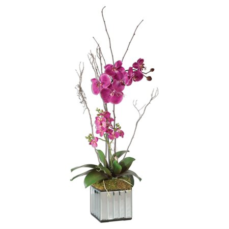 "38"" Artificial Fuchsia Pink Orchids in a Mirrored Glass Planter"