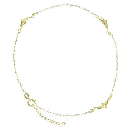 14k Yellow Gold Adjustable Dolphin Station Twist Singapore Chain Ankle Bracelet - 10 (Chain Twisted Anklet)