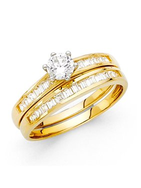 14K Solid Yellow Gold 1.25 cttw Cubic Zirconia Engagement Ring and Matching Wedding Band, Size 5