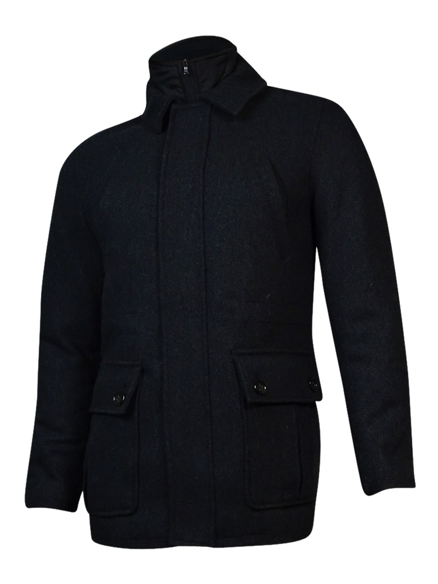 Tasso Elba Men's Wool Blend Zip Button Car Coat (S, Black Combo) by