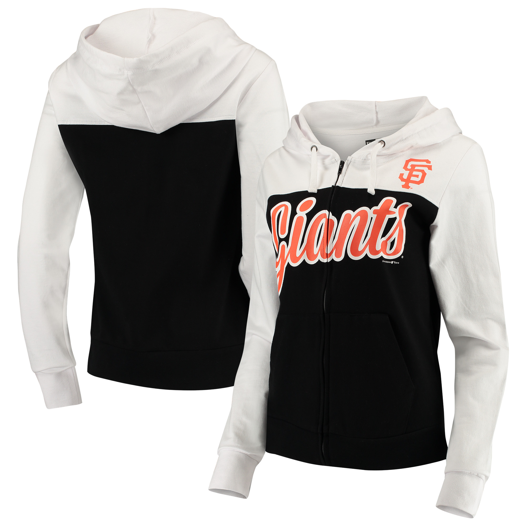 San Francisco Giants 5th & Ocean by New Era Women's French Terry Color Block Full-Zip Hoodie - Black/White