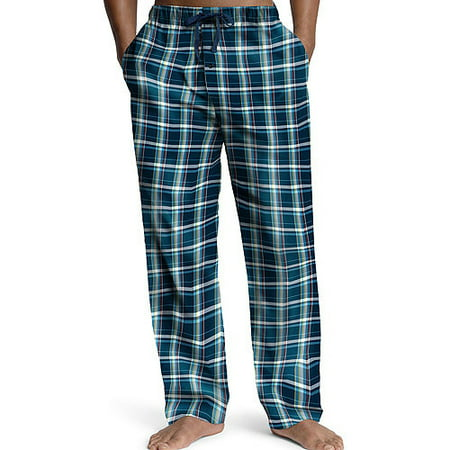 Hanes Mens Woven Plaid Drawstring Sleep Pajama Lounge Pant, 40162 Navy Plaid / (Hanes Plaid Sleep Pant)