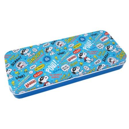 Snoopy the Super Hero Light Blue Kids Tin Pencil Box