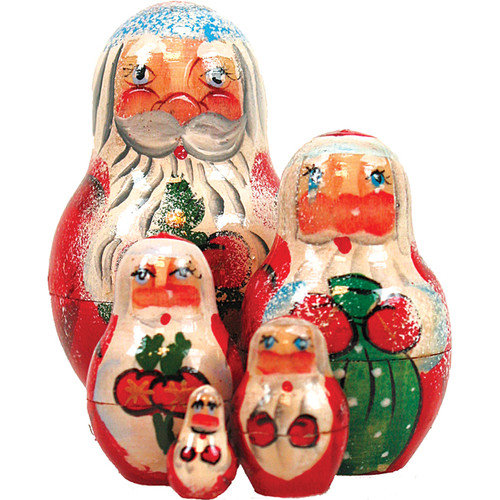 G Debrekht Russian 5 Piece Santa Nested Doll Set