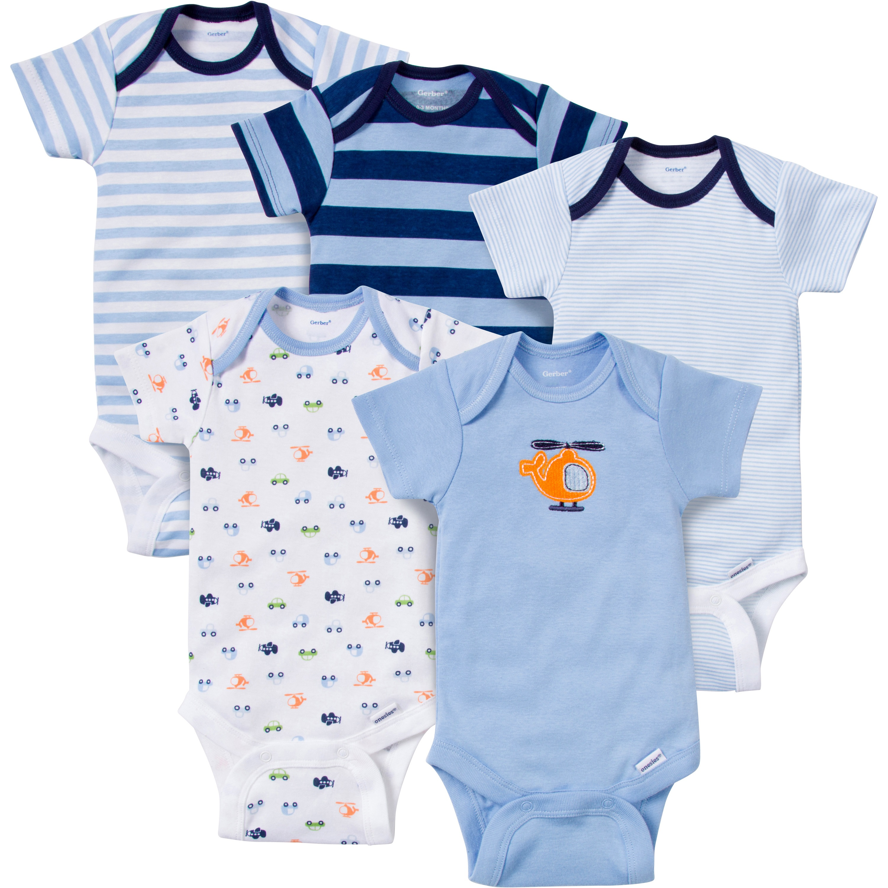 Gerber 5-Pack Colored Fashion Onesies, Boy