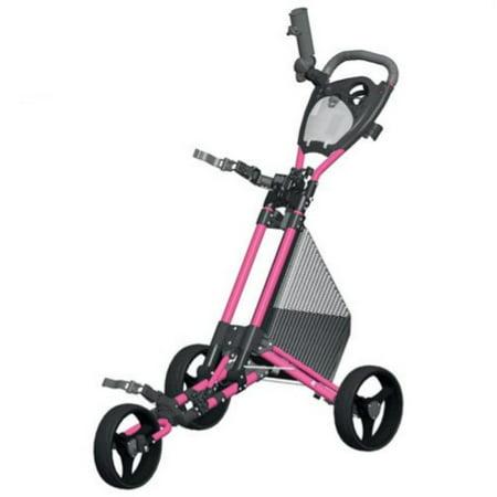 Spin It Golf Products GCPro2-Pnk 3 Wheel Golf Push Cart Pink