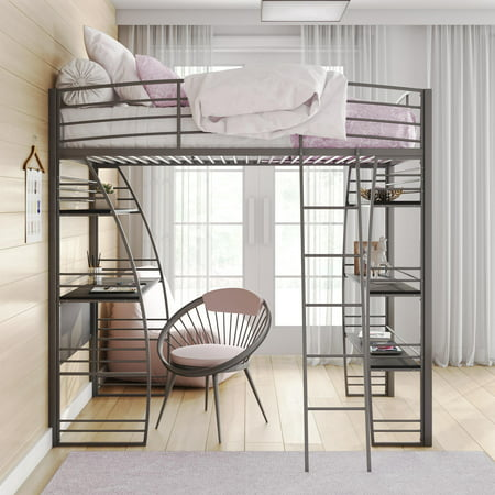 DHP Studio Twin Loft Bed with Integrated Desk and Shelves, Multiple Colors
