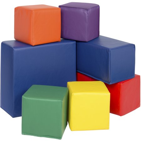 Best Choice Products 7-Piece Kids Soft Foam Block Play Set, Large Stacking Cubes for Sensory Development and Motor Skills - (Large Foam Blocks)