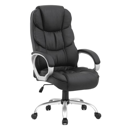 White Leatherette Office Chair (Ergonomic Executive High Back Office Gaming Chair, Metal Base )