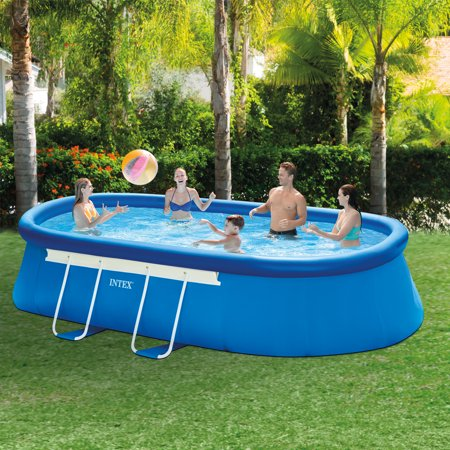 intex 18 39 x 10 39 x 42 oval frame above ground swimming pool with filter pump. Black Bedroom Furniture Sets. Home Design Ideas
