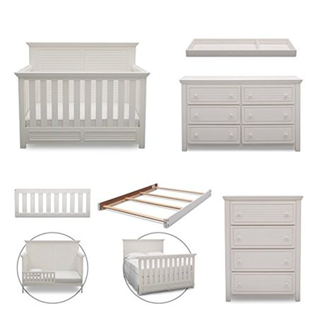 Simmons Kids Oakmont 6 Piece Nursery Furniture Set Convertible Crib Dresser Chest