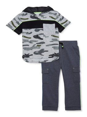 Wonder Nation Baby Boy & Toddler Boy Short-Sleeve Hooded T-Shirt & Cargo Pants Outfit Set, 2-Piece (12M-5T)