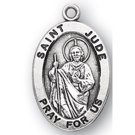 Saint Jude Oval Medal In Sterling Silver