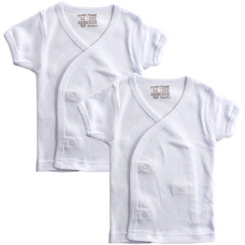 Luvable Friends Newborn Baby Neutral Side Snap Shirts White 2-Pack