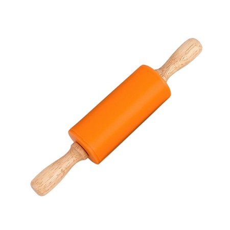 Toy Rolling Pin - Wooden Handle Silicone Rollers Rolling Pin Kid Kitchen Cooking Baking Tool