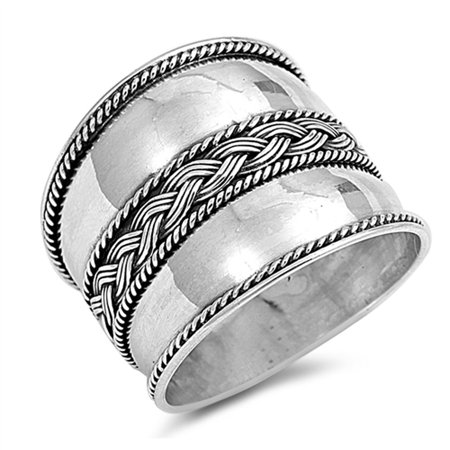 Women's Bali Fashion Ring ( Sizes 5 6 7 8 9 10 11 12 ) New .925 Sterling Silver Rope Design Band Rings (Size 11) Sterling Silver Bali Design