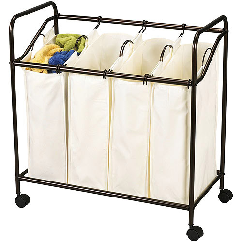 Household Essentials Antique Bronze 4-Bag Laundry Sorter, Canvas Bags