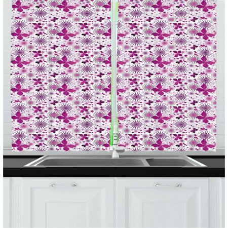 Purple Curtains 2 Panels Set, Amorous Butterflies Hearts and Flower Blooms Celebration of Valentines Day, Window Drapes for Living Room Bedroom, 55W X 39L Inches, Fushcia Violet White, by