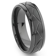 Titanium Kay Black Tungsten 8MM Diamond Cut Dome Comfort Fit Mens Wedding Band Ring Sz 10.0