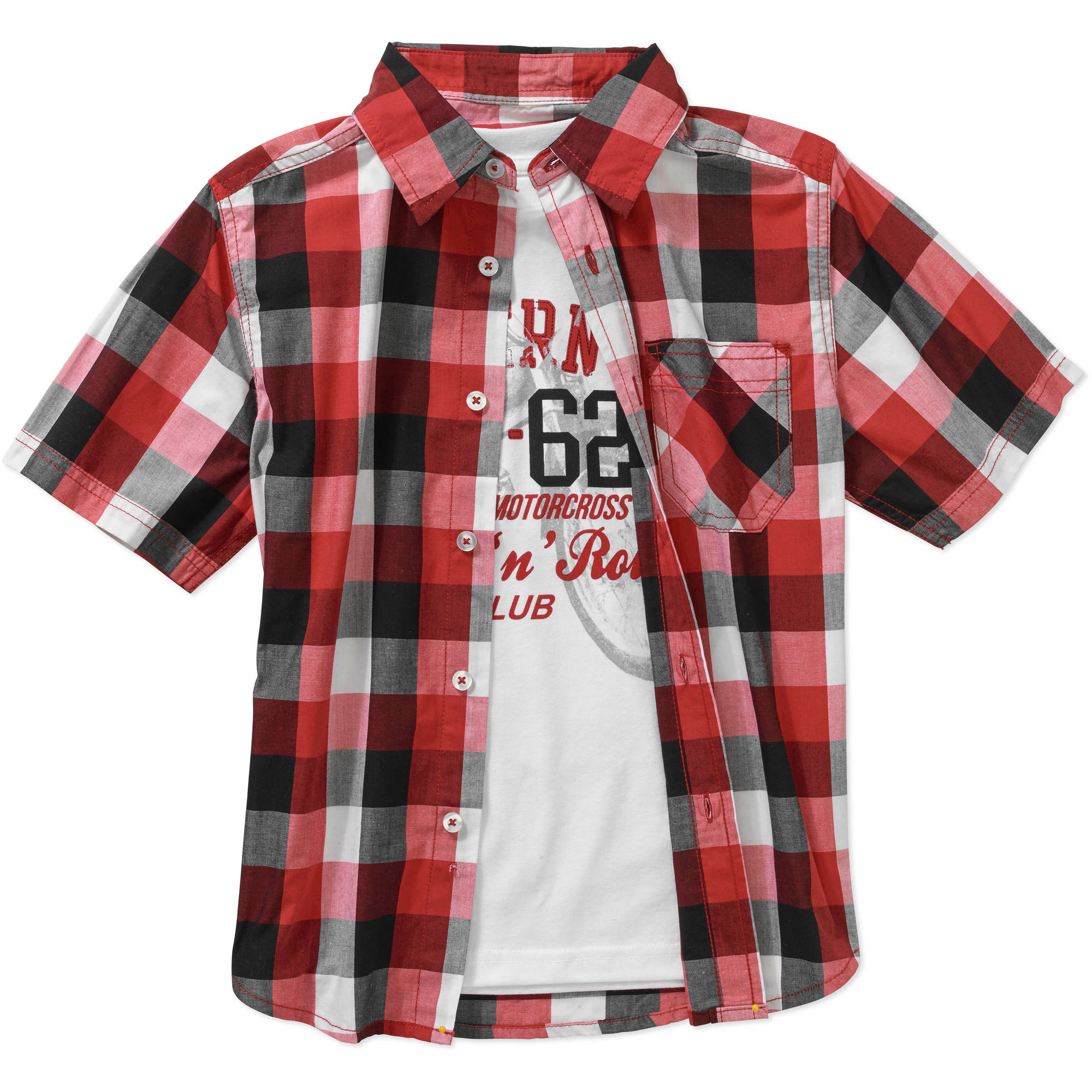 Faded Glory Boys' Short Sleeve Woven Shirt with Graphic Tee