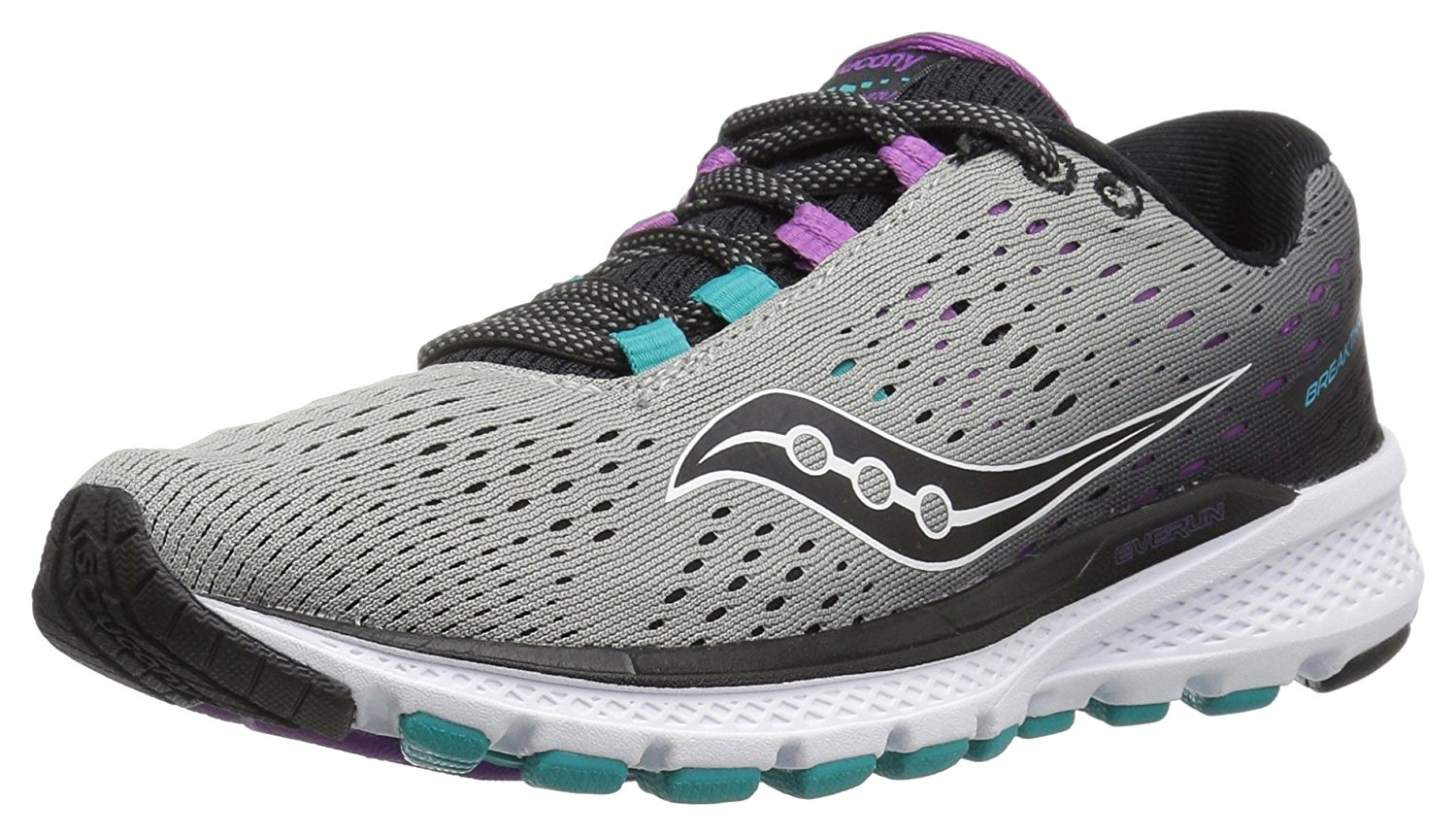 Saucony Women's Breakthru 3 Running Shoe, Grey Purple Teal, 8.5 M US by Saucony