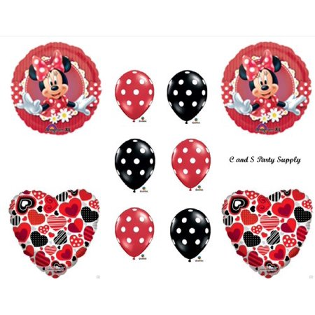 RED MAD ABOUT MINNIE MOUSE DECORATIVE BIRTHDAY PARTY Balloons Decorations Supplies (Minnie Mouse Birthday Decorations)