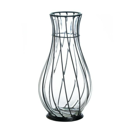 Modern Glass Vases (Vases Decorative, Short Glass Metal Accent Centerpiece Modern Vases Decorative)