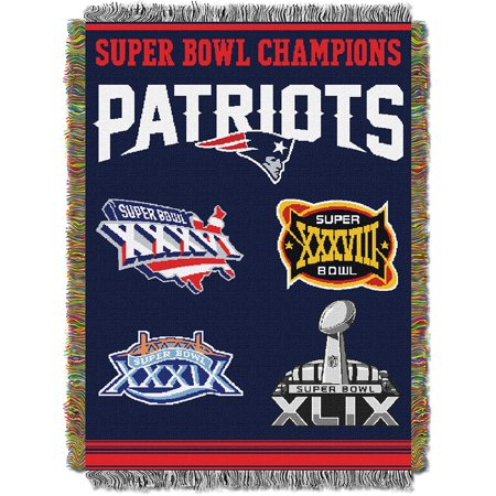 New England Patriots NFL Super Bowl Commemorative Woven Tapestry Throw (48