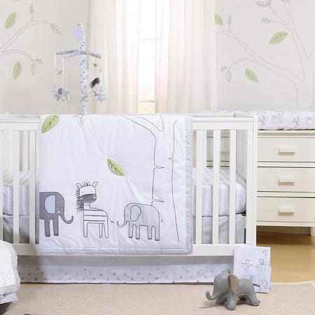 Elephant Park 6 Piece Jungle Zebra Theme Baby Crib Bedding Set by Little Haven - Baby Jungle Theme