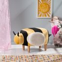 Noble House Jerome Honey and Beige Upholstered Bee Ottoman