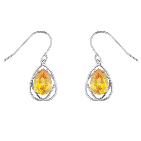 4 Ct Yellow Citrine Pear Teardrop Design Dangle Earrings .925 Sterling - Citrine Pear Drop Earrings