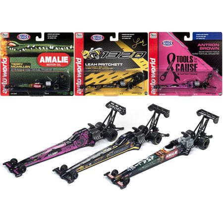 NHRA Top Fuel Dragster 2019 Release 1, Set of 3 Funny Cars 1/64 Diecast Models by