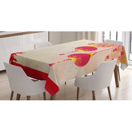 Lantern Tablecloth, Japanese Inspired Celebration Image with Lovely Colors Old Paper Theme, Rectangular Table Cover for Dining Room Kitchen, 52 X 70 Inches, Hot Pink Pale Yellow, by Ambesonne](Paper Table Cloth)