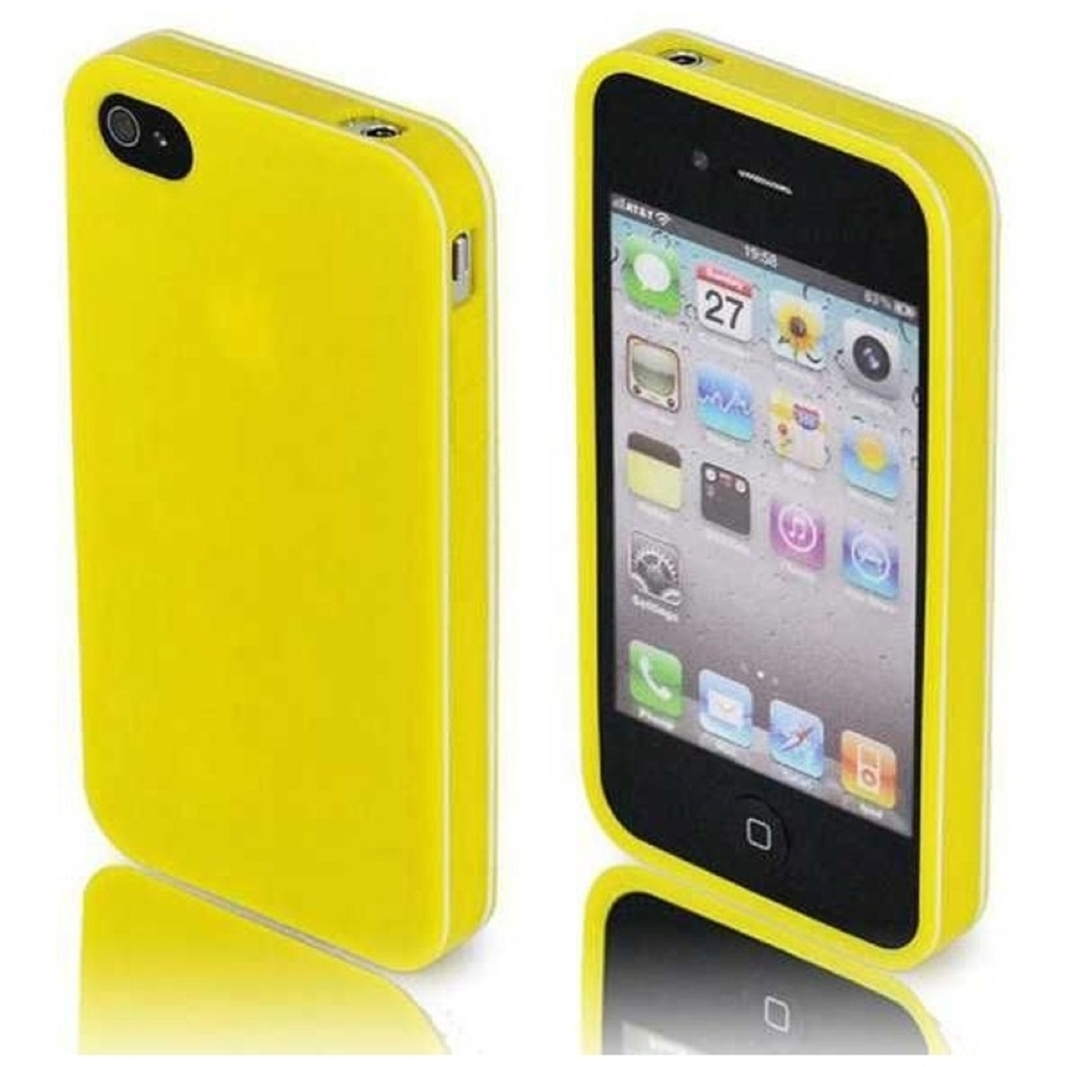 Insten For Apple iPhone 4/4S Rubber TPU Case - White+Yellow