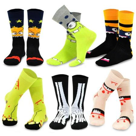 TeeHee Novelty Cotton Fun Crew Socks 6-Pack for Men (Bone and Monster