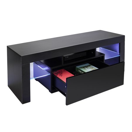 Elegant Household Decoration TV Stand with LED Lights, Modern LED TV Cabinet Media Console Cabinet LED Shelves with 2 Drawers for Living Room