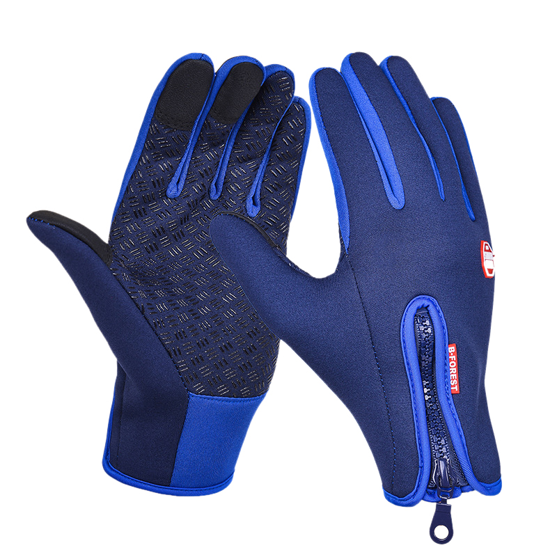 Enjoyofmine 1 Pair Windproof Outdoor Cycling Bicycle Motorcycle Gloves Anti Slip Waterproof Washable Full Finger Gloves for Men Women