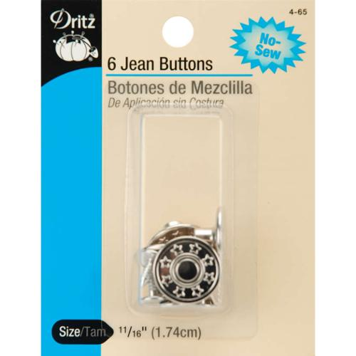 "No-Sew Jean Buttons 5/8"" 6/Pkg-Nickel"