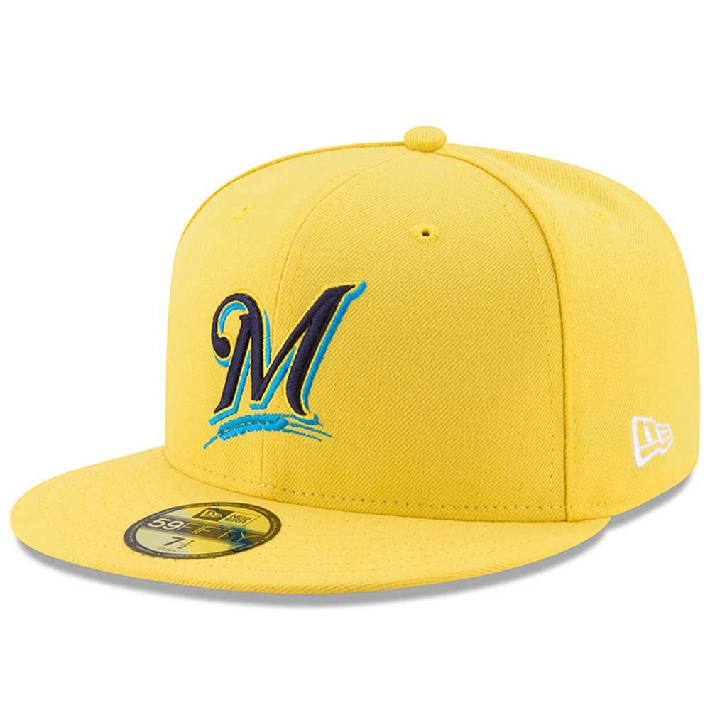 Men's New Era Yellow Milwaukee Brewers 2017 Players Weekend 59FIFTY Fitted Hat