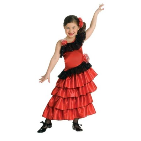 Child's Red and Black Spanish Princess Costume, - Spaniard Costume