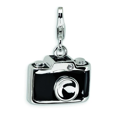 Sterling Silver Camera Charm Made With Swarovski Crystals