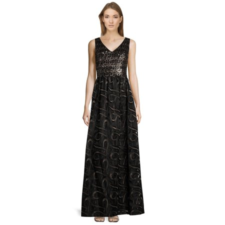 David Meister Sequin Embellished V-Neck Sleeveless Evening Gown Dress](David Dress)