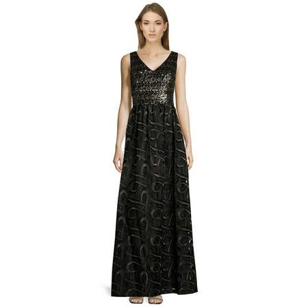 David Meister Gowns - David Meister Sequin Embellished V-Neck Sleeveless Evening Gown Dress